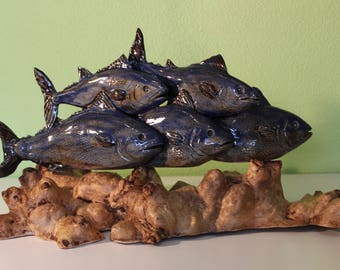 Stoneware sculpture and wood