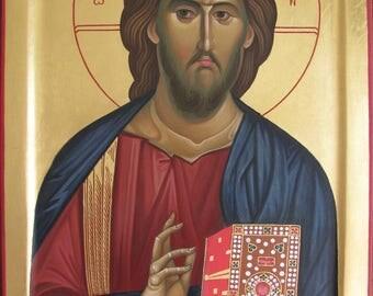 Jesus Christ, Christ Pantocrator icon painting, hand painted, orthodox icon, byzantine, christian icon, orthodox gift, iconography.