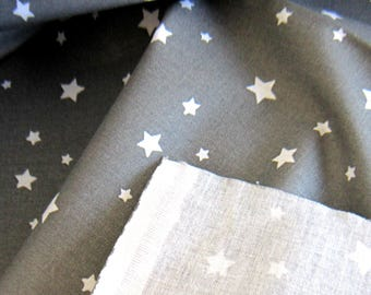 100% cotton gray fabric with white stars, sold by 10 cm by 150 cm