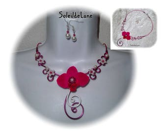 White fuchsia Orchid wedding Necklace + Earring - necklace flower wedding party evening ceremony