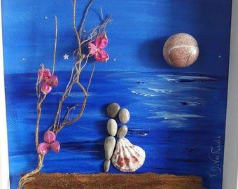 Pebble Art, Wedding Gift, Couple, Love Gift, Anniversary Gift, Home Decor, Pebble Picture, Sea, Beach, Love, Full Moon, DriftWoodFDVafiadi