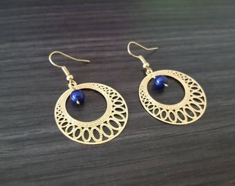 Round blue earring