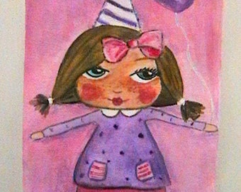 "Small canvas ""- Lili balloon"", OOAK"