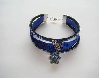 Bracelet blue lurex and suede Ribbon