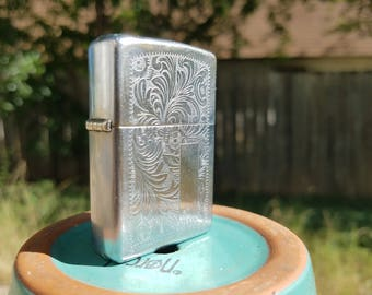 1978 Zippo lighter with Engraved Pattern and Initial Panel: Americana-Vintage-Antique-Tobacciana-Collectible