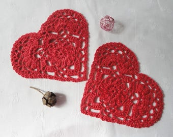 2 big red hearts sparkling crochet, saucer, placemat, coaster, head to head - Valentine's Day party