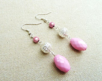 "Earrings ""silver and pink"""