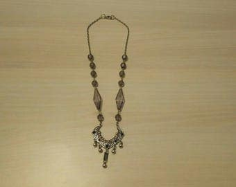 Lilac necklace beads and chain.