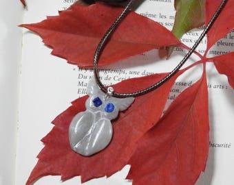 Carved OWL pendant, Choker steatite.