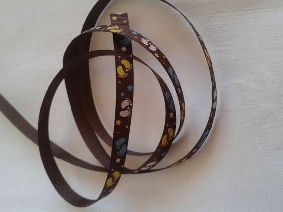 R - Ribbon grosgrain Brown little foot - 10 mm - 1 M