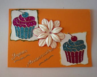 3 - Postcard and greeting card cupcake flower happy birthday