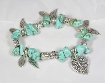 beautiful bracelet lucky turquoise semi-precious stone charm in silver plated