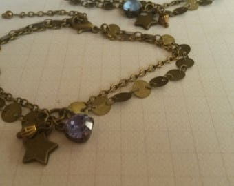 Bronze chain bracelet sleek and charm star and purple beads