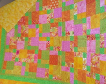 Very Colorful and Bright Handmade Quilt
