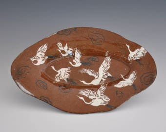 Soft Slap Hand-Build Earthenware Oval Plate with Slips and Inlay Decoration / Clear and Majolica Glaze