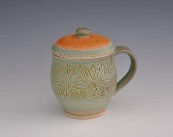 Wheel Thrown Porcelain  Mug  with Lid  Chatter Decoration and Curved Details / Celadon Glaze