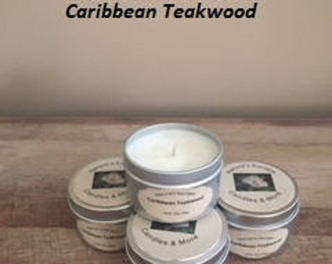 Caribbean Teakwood Soy Wax 6 oz. Candle Tins