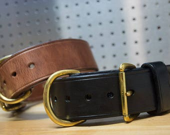 Handcrafted Carbon K9 2inch Leather Dog Collar