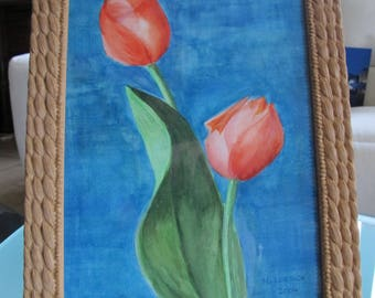 Watercolor of two tulips in a twisted frame