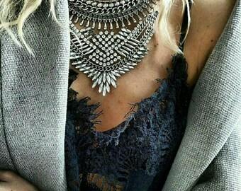 Silver Metal Statement Necklace Punk Rock Dylanlex Style Crystals Tassels