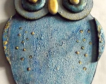 small painted OWL pattern embossed OWL