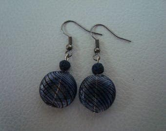 Earrings blown glass with fine inlaid spirals and basalt blue beads