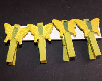 set of 4 yellow wooden Butterfly clips