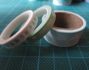 Green set of 3 rolls of masking tape