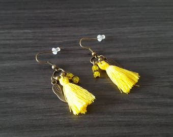 Earrings tassel winged yellow