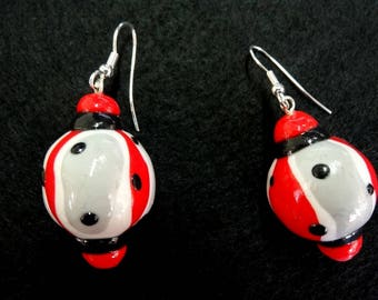 Red polymer 'Red Fusion' fancy earrings