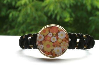 Vintage sixties flower black cord bracelet