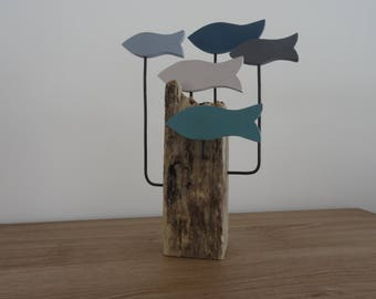 Decoration - Driftwood sculpture of fish in shades of blue - gray on base