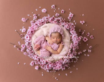 newborn Digital Background Backdrop Cherry blossom floral wreath Newborn Photography prop download girl pink High Res jpg file#15