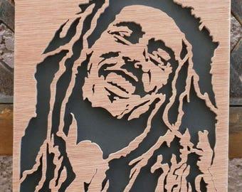 Portrait wood fretwork bob marley