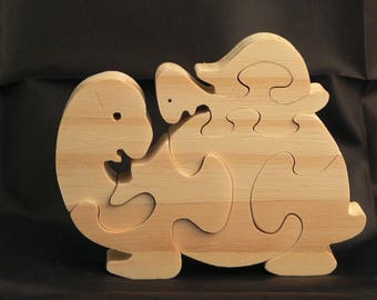 """The turtle and her baby"" animal puzzle-cut wood"