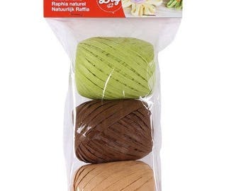 Set of 3 assorted natural raffia APLI - Nature - Ref 14413