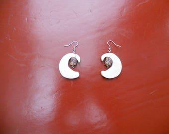 "Bone with ""millefiori"" ceramic bead earrings"