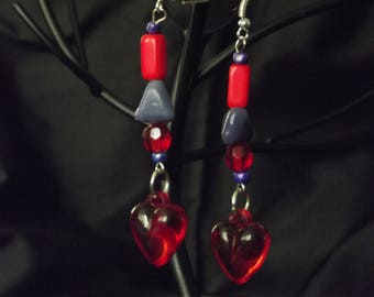 Dangling red heart earrings