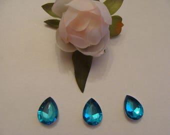 Set of 3 14 * 18 mm blue acrylic rhinestone cabochons