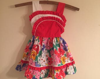 Vintage Martha's Miniatures Floral Ruffle Dress Toddler 4T Red White