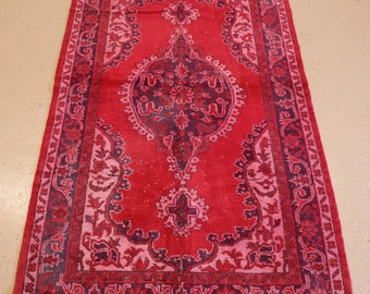 """Vintage Overdyed Turkish Rug, Handmade, Fuschia, 3 feet 11 inches by 7 feet 0 inches (3'11""""x7'0"""")"""