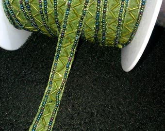 VINTAGE LACE RIBBON VINTAGE PIECE OF 47 CM SEED BEAD