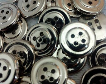 SET OF 4 VINTAGE 15 MM CAKE SILVER HOLE BUTTONS 5