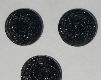 very beautiful trio of buttons carved 15 mm black new item