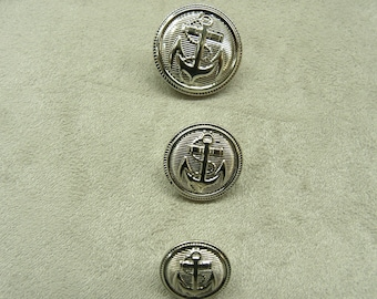 Military anchor buttons silver 22 mm