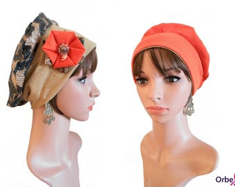"""Chemo REVERSIBLE beret """"Julie"""" & its removable fabric flower"""