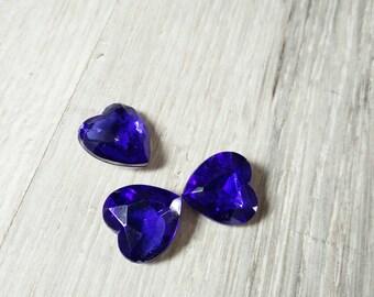 dark blue heart shaped cabochon