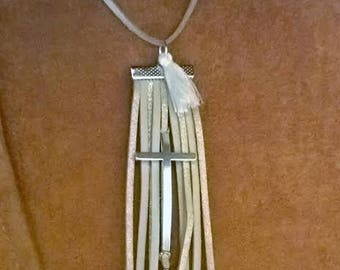 CROSS AND SUEDE FRINGE NECKLACE