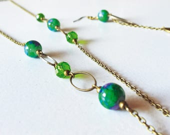 Green-purple glass pearls bronze necklace
