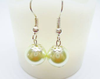 Bead caps and lime green pearls earrings